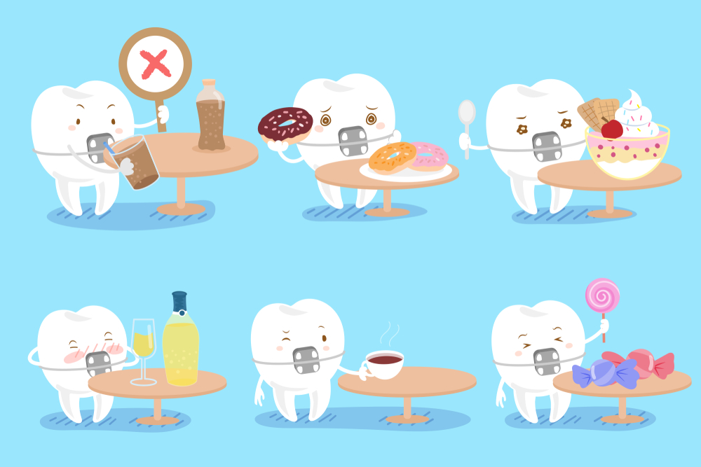 cartoon tooth wear braces with decay problem